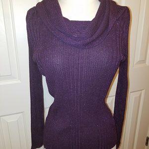 Joseph A. deep purple cowl neck women's blouse